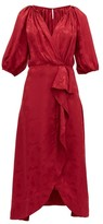 Saloni Olivia Wrap-front Silk-blend Jacquard Midi Dress - Womens - Burgundy