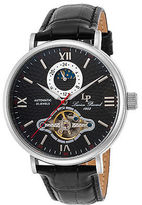 Lucien Piccard 15040-01 Men's Babylon Automatic Black Genuine Leather and