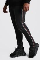 boohoo Mens Black Big And Tall Side Tape Skinny Jean, Black