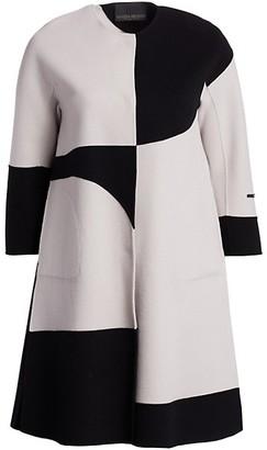 Marina Rinaldi, Plus Size Barone Geo Print Double Wool Coat