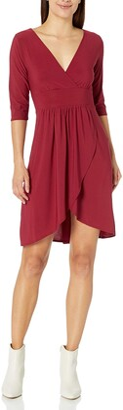Star Vixen Women's Petite Elbow Sleeve Surplice with Tulip Skirt