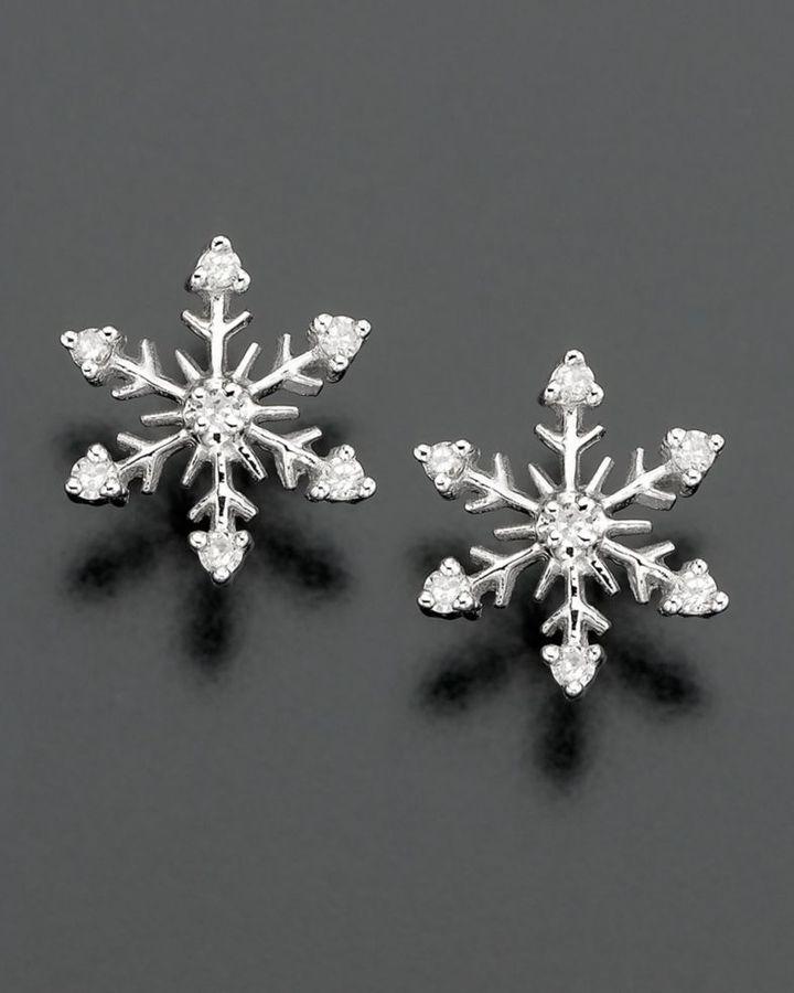 14k White Gold Diamond-Accented Snowflake Stud Earrings