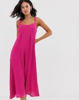 Asos Design DESIGN pleat detail maxi dress in natural look yarn