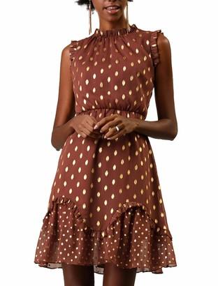 Allegra K Women's Metallic Dots Print Sleeveless Ruffle Cocktail Skater Dress Brown S