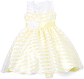 Yellow Stripe Flower-Sash Dress - Infant Toddler & Girls