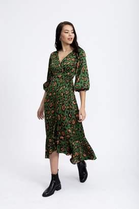 Liquorish Animal Green Wrap Midaxi Dress with Ballony 3/4 Length Sleeves