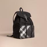 Burberry Check Detail Technical Packaway Rucksack, Black