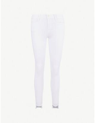 Frame Ladies White Cotton Le Skinny De Jeanne Mid-Rise Jeans, Size: 23