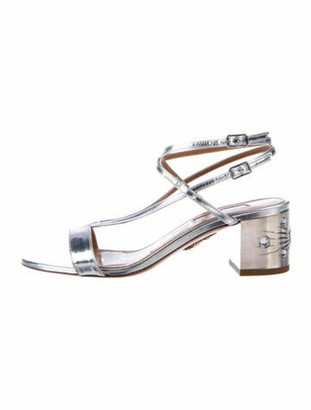 Aquazzura Patent Leather Crystal Embellishments T-Strap Sandals Silver
