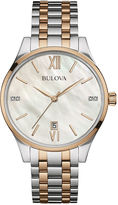 Bulova Diamonds Womens Diamond-Accent Two-Tone Stainless Steel Bracelet Watch 98P150