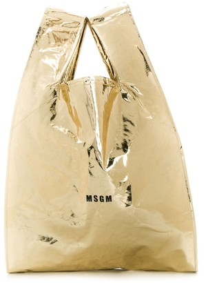 MSGM metallic shopper tote
