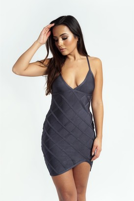 Made By Issae The 'Delyla' Strappy Bandage Mini Dress in Grey