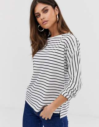 French Connection long sleeve stripe t-shirt-White