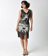 Unique Vintage 1920s Deco Silver & Black Sequin Beaded Fringe Flapper Dress