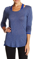 Andrew Marc Striped Long Sleeve Cold Shoulder Tee