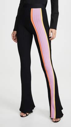 Ellery Bottleneck Rib Flared Pants with Front Stripe