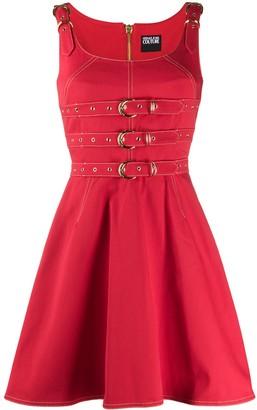 Versace Belt Detail Dungaree Denim Dress