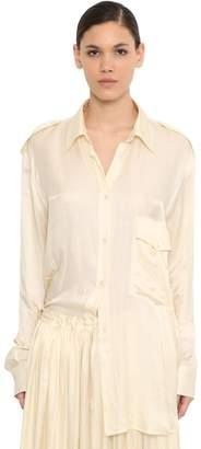 Ann Demeulemeester Oversized Satin Shirt W/pocket
