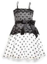 Un Deux Trois Girl's Polka Dot Lace Party Dress