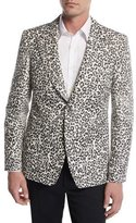 Alexander McQueen Faded Leopard Two-Button Sport Jacket, Black/White/Gray