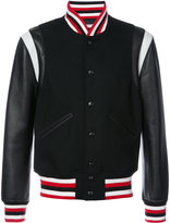 Givenchy striped trim bomber jacket - men - Calf Leather/Wool - 48