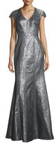 Theia Cap-Sleeve Metallic High-Slit Gown