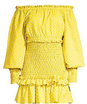 Alexis Women's Marilena Smocked Polka Dot Off-The-Shoulder Mini Dress