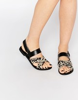 Park Lane Cross Strap Sling Leather Flat Sandals