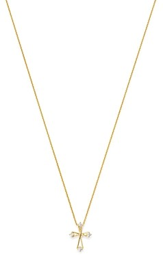 Bloomingdale's Diamond Small Cross Pendant Necklace in 14K Yellow Gold, 0.10 ct. t.w. - 100% Exclusive
