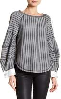 Laundry by Shelli Segal Wide Striped Pearl Cuff Knit Top