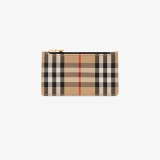Burberry brown and black Vintage check leather wallet