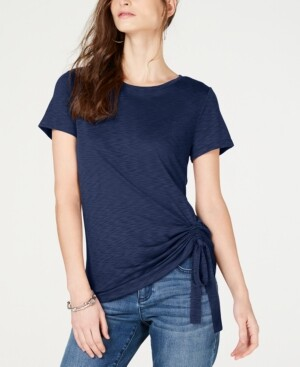INC International Concepts I.n.c Petite Side-Ruched T-Shirt, Created for Macy's
