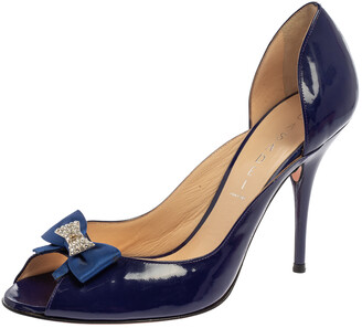 Casadei Blue Patent Leather Embellished Bow Open Toe Pumps Size 39