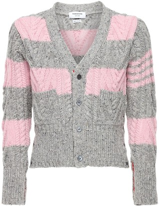 Thom Browne Striped Wool Aran Cable Knit Cardigan