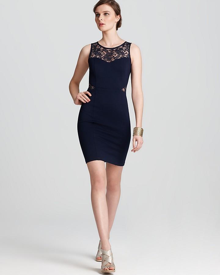 Aqua Ponte Dress - Lace