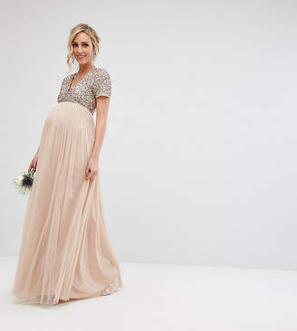Maya Maternity Bridesmaid V Neck Maxi Tulle Dress with Tonal Delicate Sequins-Brown