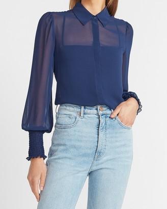 Express Smocked Cuff Portofino Shirt