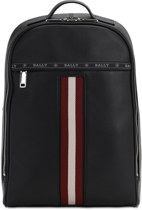 Bally Leather Backpack W/ Web Stripe