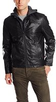 Levi's Men's Big & Tall Faux-Leather Hoodie Racer Jacket