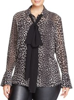 MICHAEL Michael Kors Bow Neck Leopard Print Blouse - 100% Exclusive