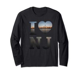 New Jersey Gifts T Shirts & Apparel I Heart New Jersey City Skyline Art Gift Trenton NJ Souvenir Long Sleeve T-Shirt