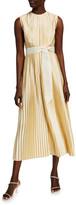 Huishan Zhang Pleated Tie-Waist A-Line Dress