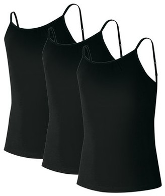 Hanes Girls Tanks, 3 Pack Cami Tanks With Shelf Bra Value Pack Sizes 6/6X - 14/16
