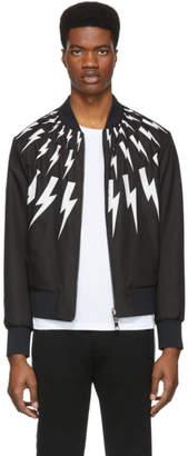 Neil Barrett Reversible Black and White Lightning Bolt Bomber Jacket