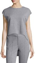 ADAM by Adam Lippes Jewel-Neck High-Low Muscle Top, Light Gray