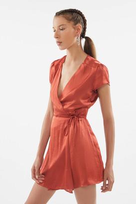 Urban Outfitters Beau Satin Short Sleeve Wrap Dress