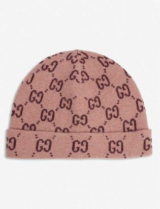 Gucci Kids GG Supreme logo-intarsia wool hat 4-12 years