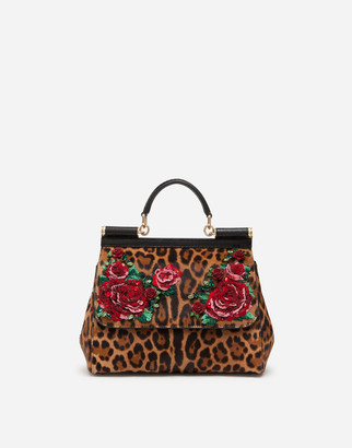 Dolce & Gabbana Large Sicily Bag In Embroidered Leopard-Print Pony Hair