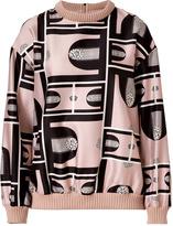 Suno Beige Multi Cotton-Silk Dropped Shoulder Blouson Top