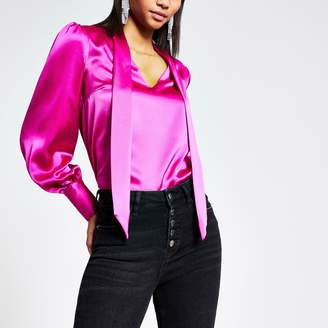 River Island Womens Pink satin tie neck long sleeve blouse